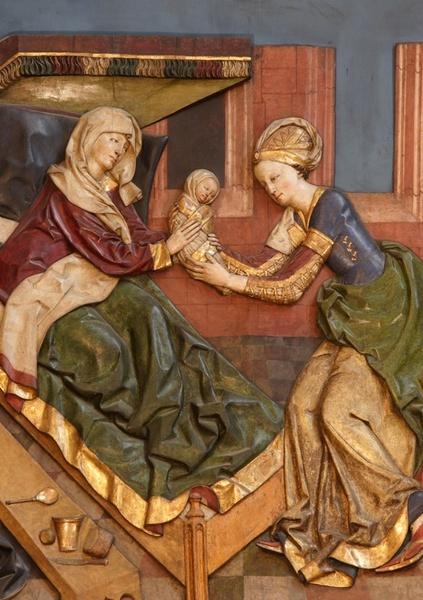 Narodziny Maryi. Scena z ołtarza Wita Stwosza w kościele Mariackim w Krakowie